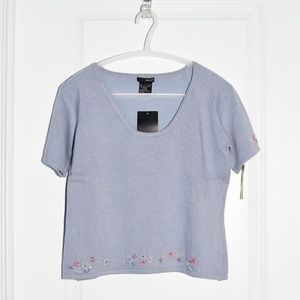 Kenzie Embellished Lavender Short-Sleeve Sweater